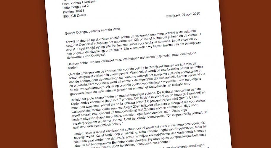Brandbrief: Collectieve noodroep van cultureel Overijssel